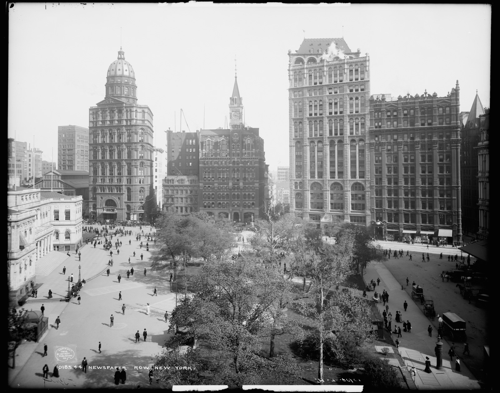 Newspaper Row, [Park Row], New York - Foto The Library of Congress - Detroit Publishing Co.